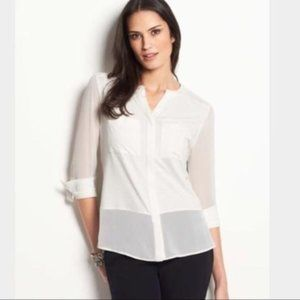 Ann Taylor Ivory Mixed Media Long Sleeve Top NEW M
